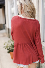 Waffle Knit Babydoll Top in Rust Back View