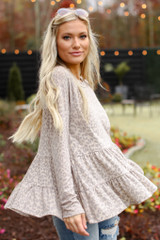 Taupe - Model wearing a Leopard Tiered Babydoll Top