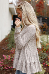 Leopard Tiered Babydoll Top in Taupe Side View