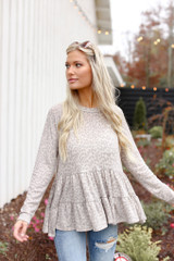 Dress Up Model wearing taupe leopard top