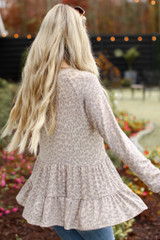 Leopard Tiered Babydoll Top in Taupe Back View