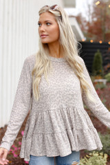 Taupe - Dress Up model wearing a Leopard Tiered Babydoll Top