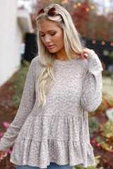 Dress Up Girl wearing a babydoll taupe leopard dress up top