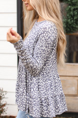 Leopard Tiered Babydoll Top in Grey Side View