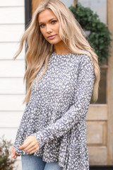 Grey - Leopard Tiered Babydoll Top from Dress Up