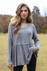 Charcoal - Brushed Knit Babydoll Top