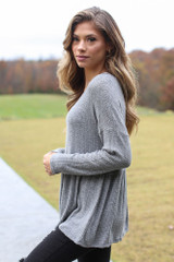 Brushed Knit Babydoll Top in Charcoal Side View
