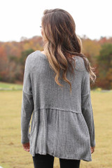 Brushed Knit Babydoll Top in Charcoal Back View