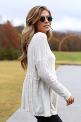 Brushed Knit Babydoll Top in Ivory Side View