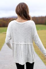 Brushed Knit Babydoll Top in Ivory Back View
