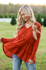 Rust - Waffle Knit Tiered Babydoll Top from Dress Up