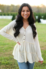 Ivory - Dress Up model wearing a Waffle Knit Tiered Babydoll Top