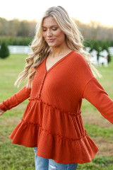Waffle Knit Tiered Babydoll Top in Rust Side View