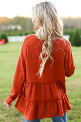 Waffle Knit Tiered Babydoll Top in Back View