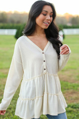 Waffle Knit Tiered Babydoll Top in Ivory Side View