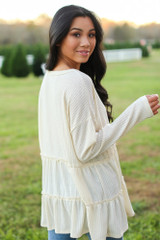 Waffle Knit Tiered Babydoll Top in Ivory Back View