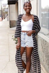 Black - Striped Duster Cardigan from Dress Up