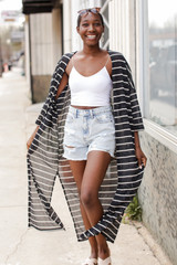 Dress Up Model wearing a Striped Duster Cardigan