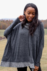 Charcoal - Dress Up model wearing an Oversized Brushed Knit Sweater