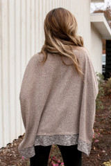 Back view of oversized knit top