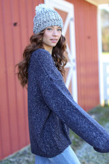 Oversized Front Pocket Sweater in Navy Side View