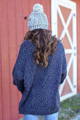 Oversized Front Pocket Sweater in Navy Back View