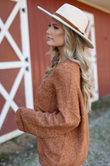 Oversized Front Pocket Sweater in Camel Side View