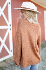 Oversized Front Pocket Sweater in Camel Back View
