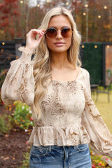 Olive - Smocked Marble Blouse from Dress Up