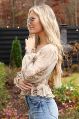 Smocked Marble Blouse Side View