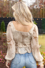 Smocked Marble Blouse Back View