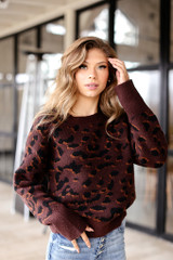 Wine - Luxe Knit Leopard Sweater Front View
