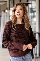 Luxe Knit Leopard Sweater Front View