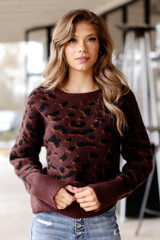 Wine - Luxe Knit Leopard Sweater from Dress Up