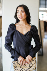 Black - Puff Sleeve Wrap Blouse