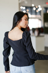 Puff Sleeve Wrap Blouse Back View
