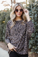 Grey - Oversized Leopard Blouse from Dress Up