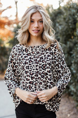Taupe - Dress Up model wearing an Oversized Leopard Blouse