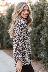 Oversized Leopard Blouse in Taupe Side View