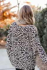 Oversized Leopard Blouse in Taupe Back View