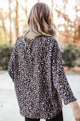 Oversized Leopard Blouse in Grey Back View