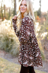 Brown - Leopard Tiered Babydoll Tunic from Dress Up