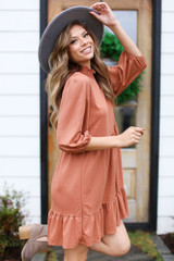 Rust - Mock Neck Babydoll Dress from Dress Up