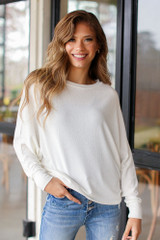 Ivory - Oversized Knit Top Front View