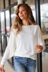 Oversized Knit Top in Ivory Front View
