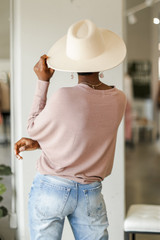 Oversized Knit Top in Mauve Back View