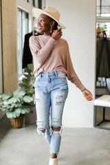 Oversized Knit Top in Mauve Front View
