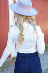Mock Neck Crop Top in White Back View