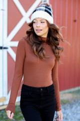 Camel - Model wearing a Mock Neck Bodysuit with a beanie