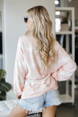 Oversized Tie-Dye Pullover in Peach Back View